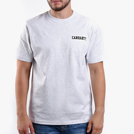 Carhartt College Script T-Shirt I024806 ASH HEATHER/BLACK